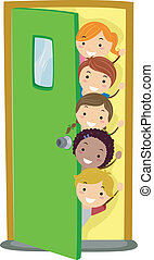 Peeking Kids - Illusstration of Kids Peeking from Behind a...