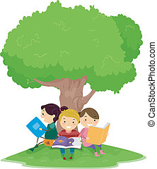 Reading Kids - Illustration of Kids Reading Under a Tree