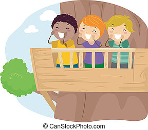 Shouting Kids - Illustration of Kids Shouting From the...
