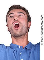 Man shouting for joy