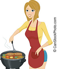 Grill Girl - Illustration of a Woman Grilling Steak