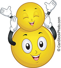 Father and Son Smiley - Illustration of a Big Smiley Holding...