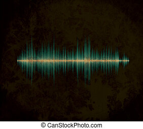 Waveform on the dirty background - Blue waveform on the aged...