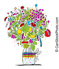 Floral bouquet in jar, sketch for your design