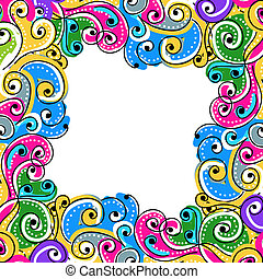 Wave hand drawn frame for your design, abstract background