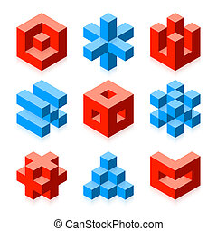 Cubic objects vector illustration