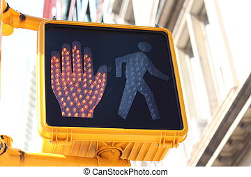 Halt signal on pedestrian crossing - Halt signal with a red...