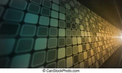 Mosaic Wall Blue Amber - Abstract wal of mosaic tiles moves...