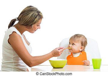 jovem, mãe, colher, alimentação, dela,...