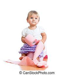 ENGRAÇADO, bebê, sentando, câmara, pote,...