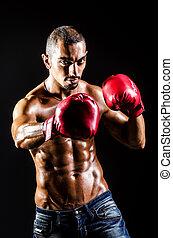 joven, hombre, boxeo, guantes