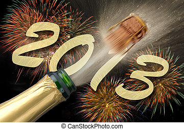 new year 2013 - popping champagne and firework at new year...