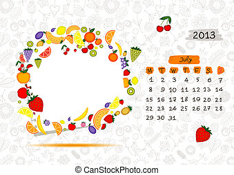 Vector calendar 2013, july. Frame with place for your text or photo