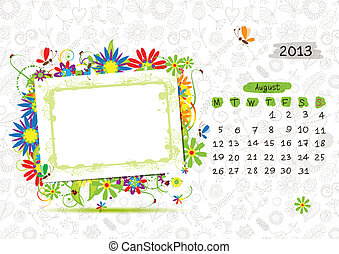Vector calendar 2013, april. Frame with place for your text or photo