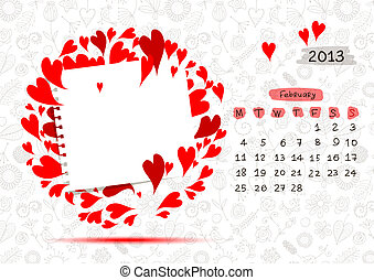 Vector calendar 2013, february. Frame with place for your text or photo