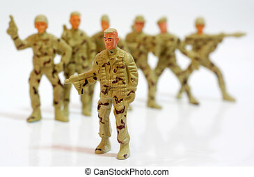 Toy soldiers. - Close up of toy soldiers.