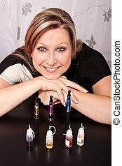 mujer, ella, e-cigarettes, Colección, líquidos, vario,...
