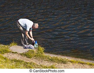 old age - oldman filling the bottles