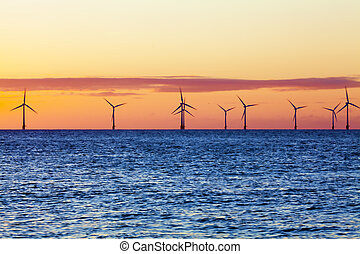 Offshore wind farm at sunrise - This wind farm was pictured...