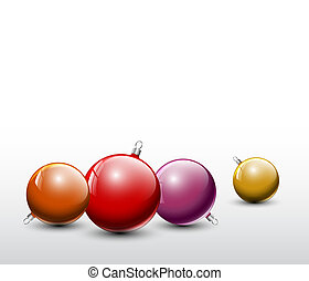 Vector Christmas realistic baubles - Vector red and golden...