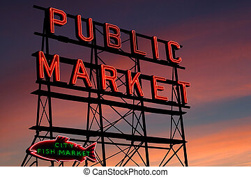 Seattle Pike Place Market - Pike Place Market neon sign at...