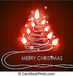 Vector background with christmas tree and lights on red