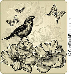 Background with blooming roses, birds and flying butterflies...