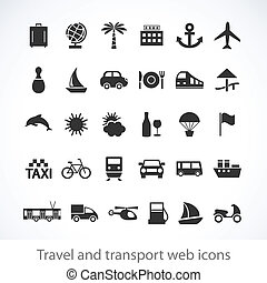 Travel and transport web icons - Travel and transport...