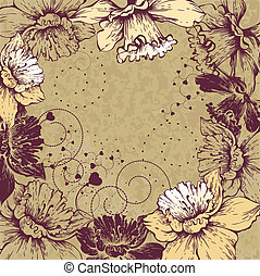 Floral background with blooming Nar