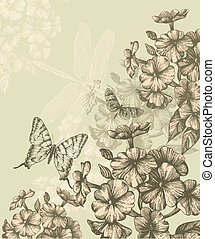 Floral background with blooming phlox and flying...