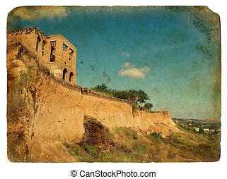 Landslide of soil, natural hazards. Old postcard. -...