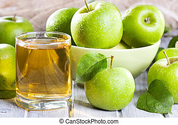 fresh apples with juice