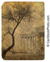 Greek colonnade Old postcard - Old grunge antique paper...