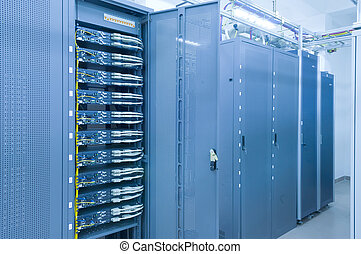 network server room routers and fiber optical cables