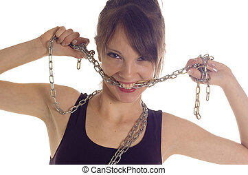 Girl chain   - Young beautiful girl linking with chain