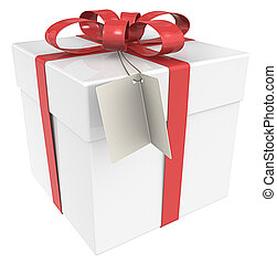 Gift Box. - Gift Box with Tag, Isolated.