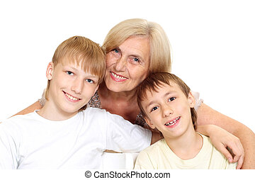 Granny with her grandchildren on a white background