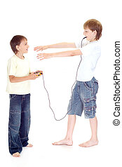 Two playful boys playing on a white background