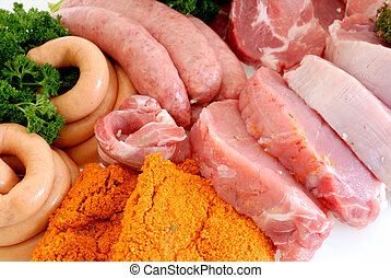 Variety of meat - Variety of pork and beef meat, studio...