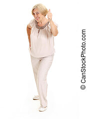 Fun old woman - Pretty old woman on a white background
