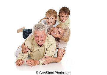 nietos, su, agradable, abuelos