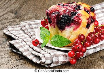 vermelho, groselha, copo, bolo