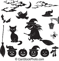 Halloween cartoon, set black silhouette on white background:...