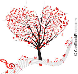 Music tree hearts note symbol vector on wave lines Design...