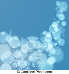 Abstract Christmas background with snowflakes - Light blue...