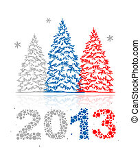 New Year's Eve greeting card with trees