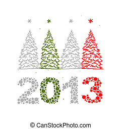 New Year's Eve greeting card with trees for your design
