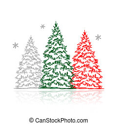 Hand drawn winter trees for your design