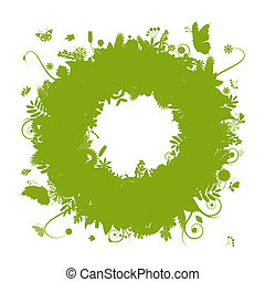 Abstract green wreath for your design