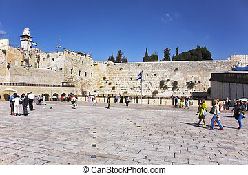 The western wall of the Jerusalem temple and the area before...